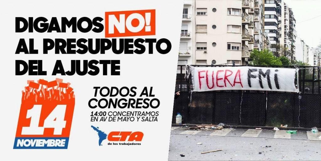 NO AL PRESUPUESTO DE AJUSTE - CTA - CONGRESO - 14 NOVIEMBRE