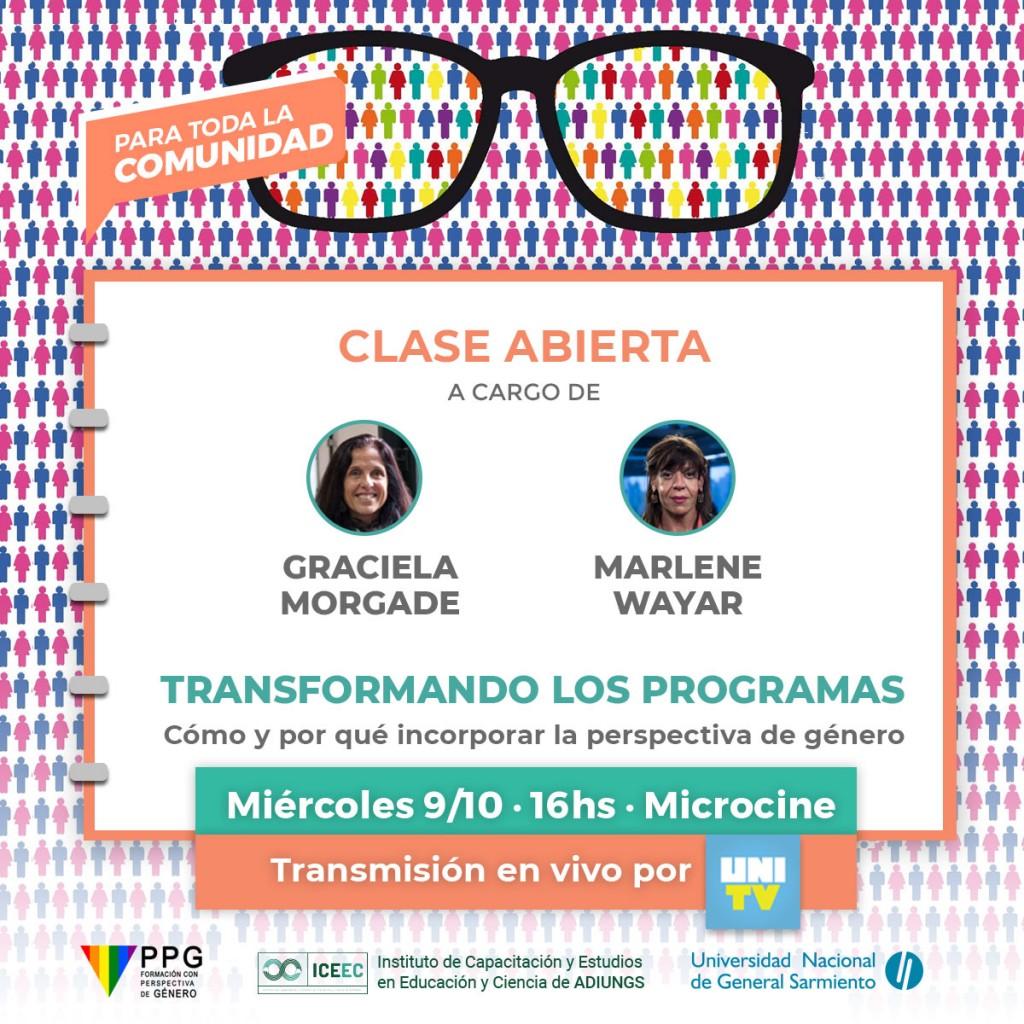 Marlene Wayar Graciela Morgade Clase abierta taller transformando los programas