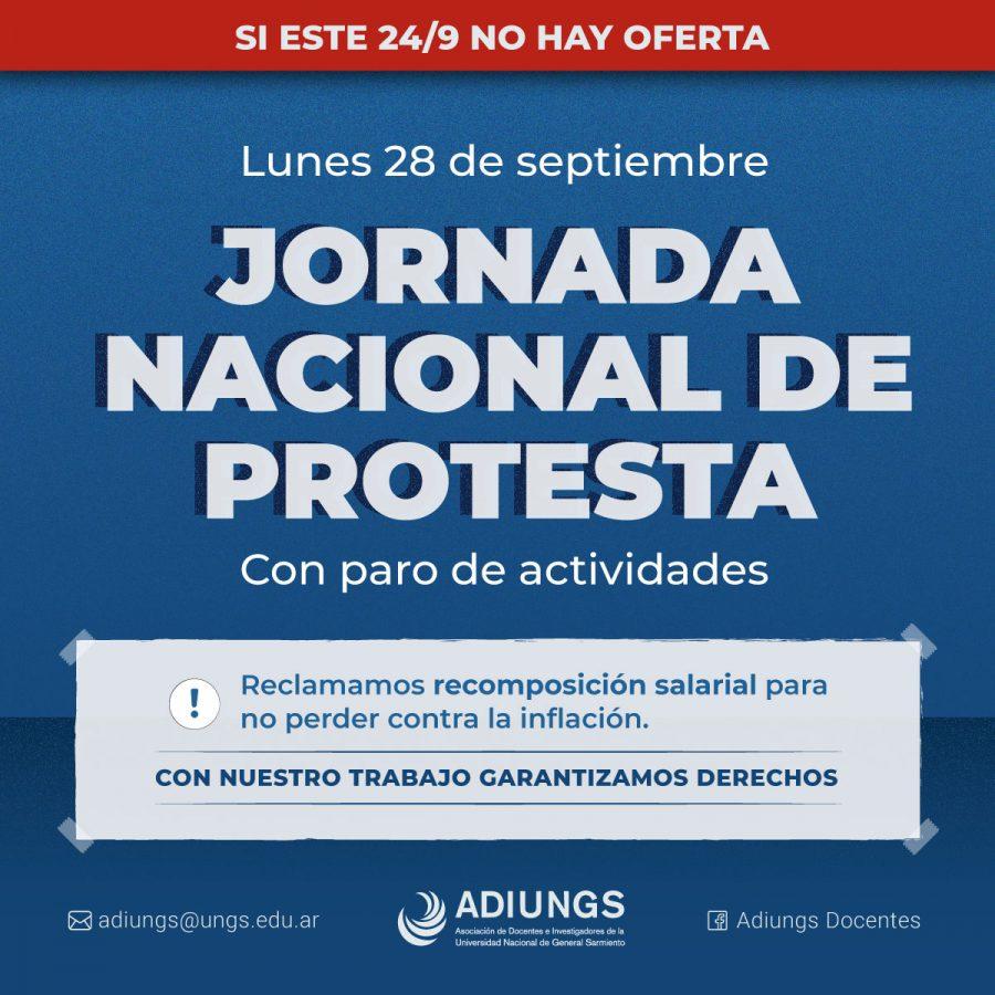 si no hay oferta, jornada nacional de protesta con paro de actividades flyer